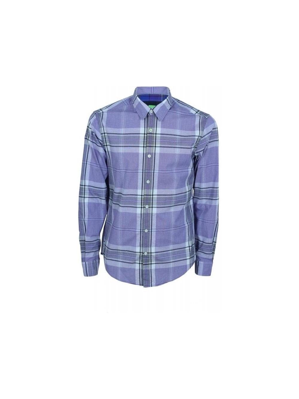 e153a6b42 Hugo Boss Green Bissvil Shirt in Dark Purple - Northern Threads