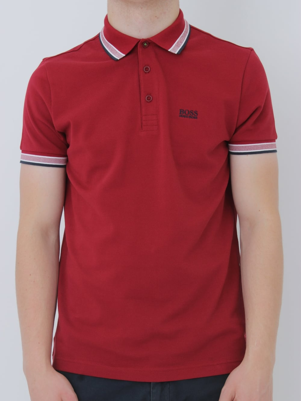 67e759d3e HUGO BOSS BOSS Green Paddy Polo in Dark Red - northern threads