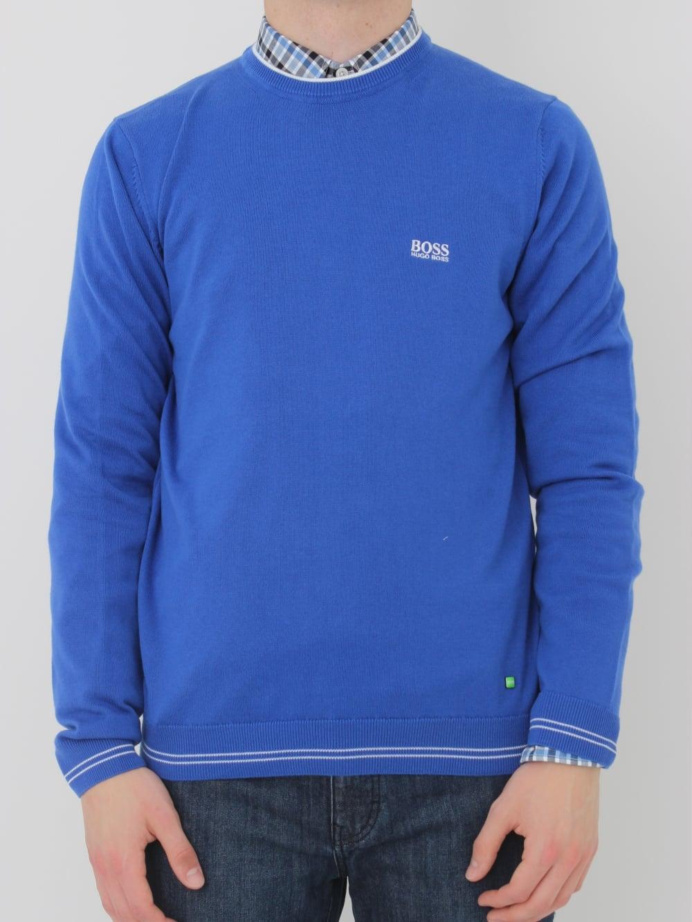 36313628 HUGO BOSS BOSS Green Rime Crew Neck Knit in Medium Blue - Northern ...