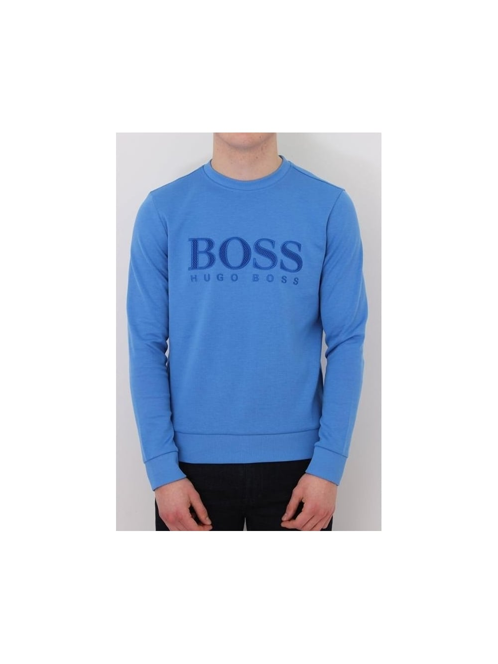 HUGO BOSS BOSS Green Salbo Sweat In Medium Blue - Northern Threads 8b38d48187b0