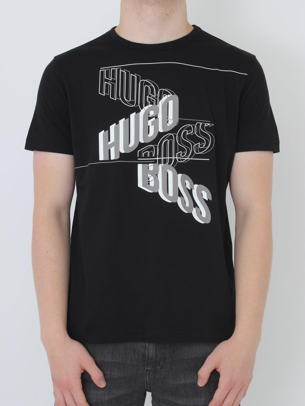 9eb653919d HUGO BOSS - BOSS Green Tee 2 Printed T.Shirt in Black - Northern Threads