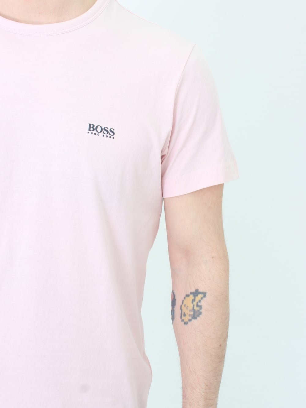 bc896292 Hugo Boss Green Crew Neck Logo T.Shirt in Pastel Pink | Northern Threads