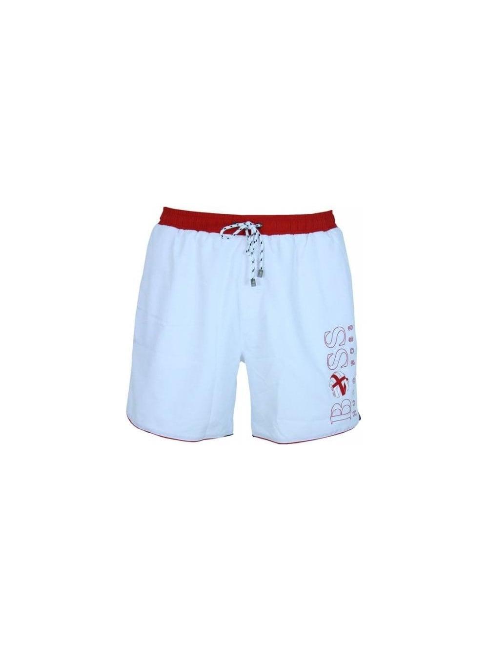 61082971d2 Boss Black Footballfish Swimming Shorts in Open White - Northern Threads
