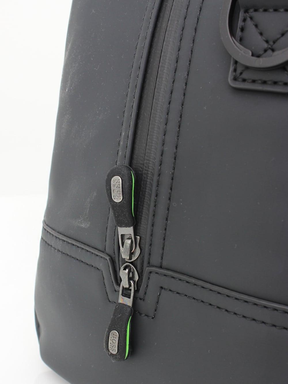 b98cbd5003 ... Hyper Holdall - Black HUGO BOSS Printed backpack in nylon gabardine  with calf-leather trims Men ...