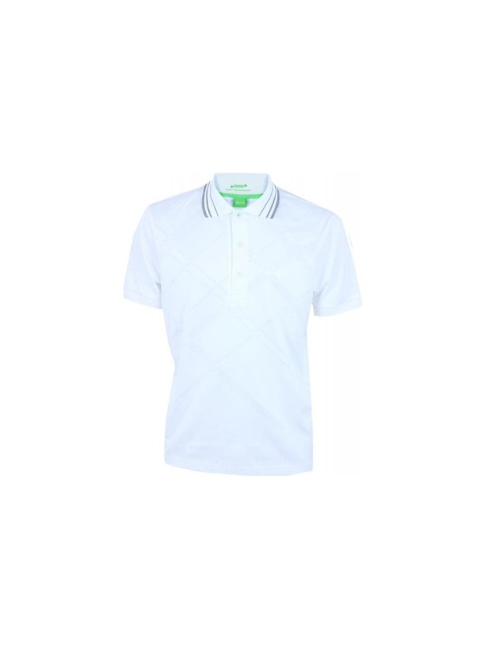2f44ef4f6 Hugo Boss Green Paddy 7 Polo in White - Northern Threads