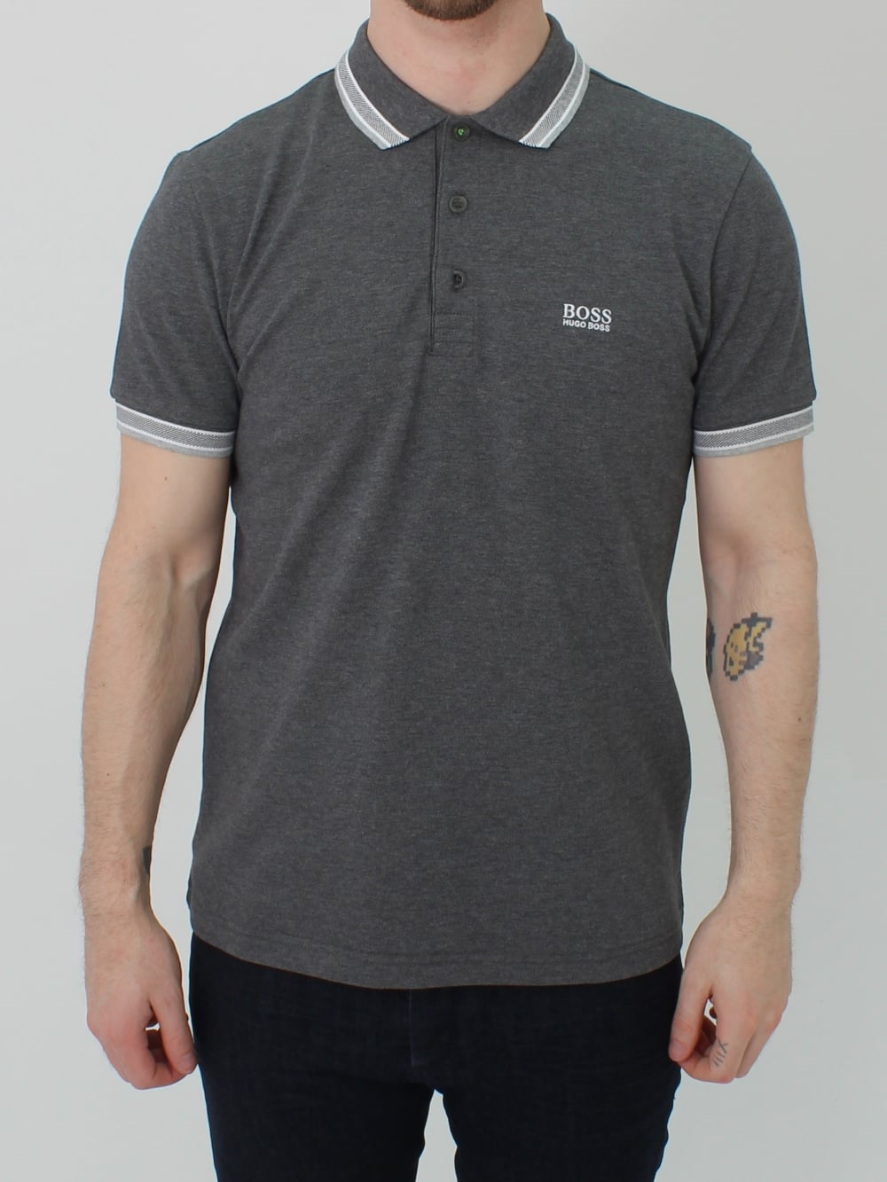9f30e9483 Hugo Boss Green Paddy Polo in Grey | Northern Threads