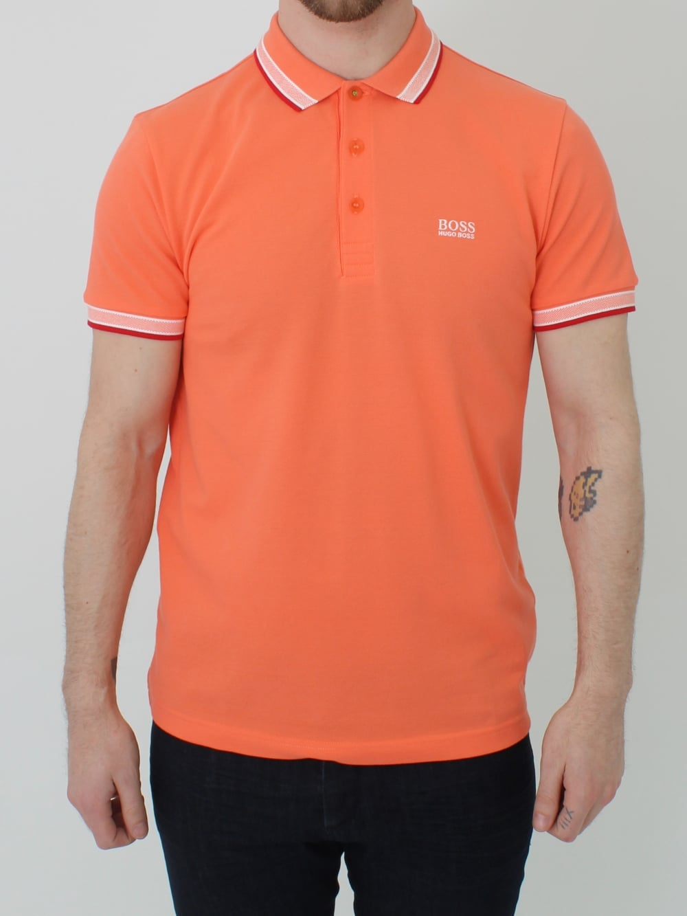 514f3791 Hugo Boss Green Paddy Polo in Soft Orange | Northern Threads