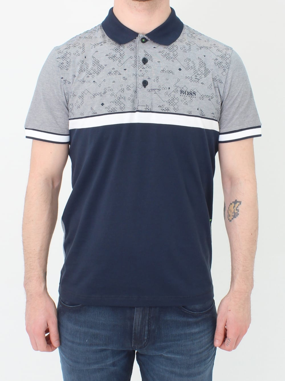 212d3839 Hugo Boss Green Paule 5 Polo in Navy | Northern Threads