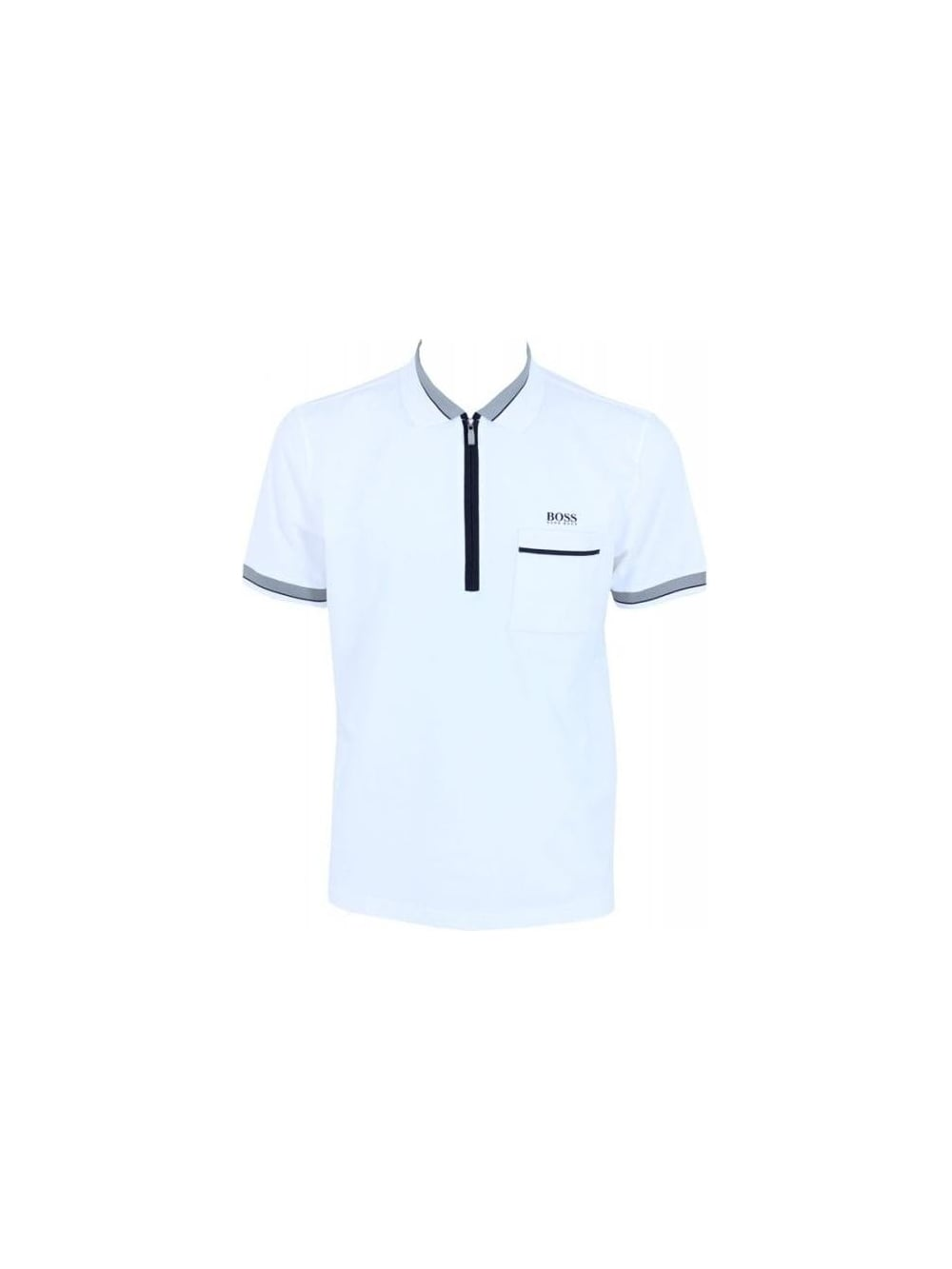 6f6e150c1 Hugo Boss Green Philix Zip Polo in White - Northern Threads