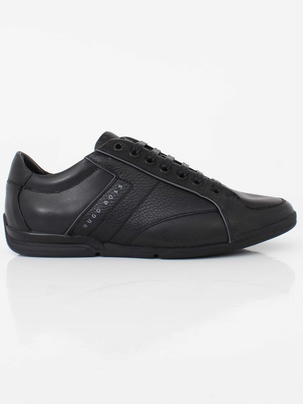 3e8e5dc052 Hugo Boss Saturn Lowp Lux3 Trainer in Black | Northern Threads