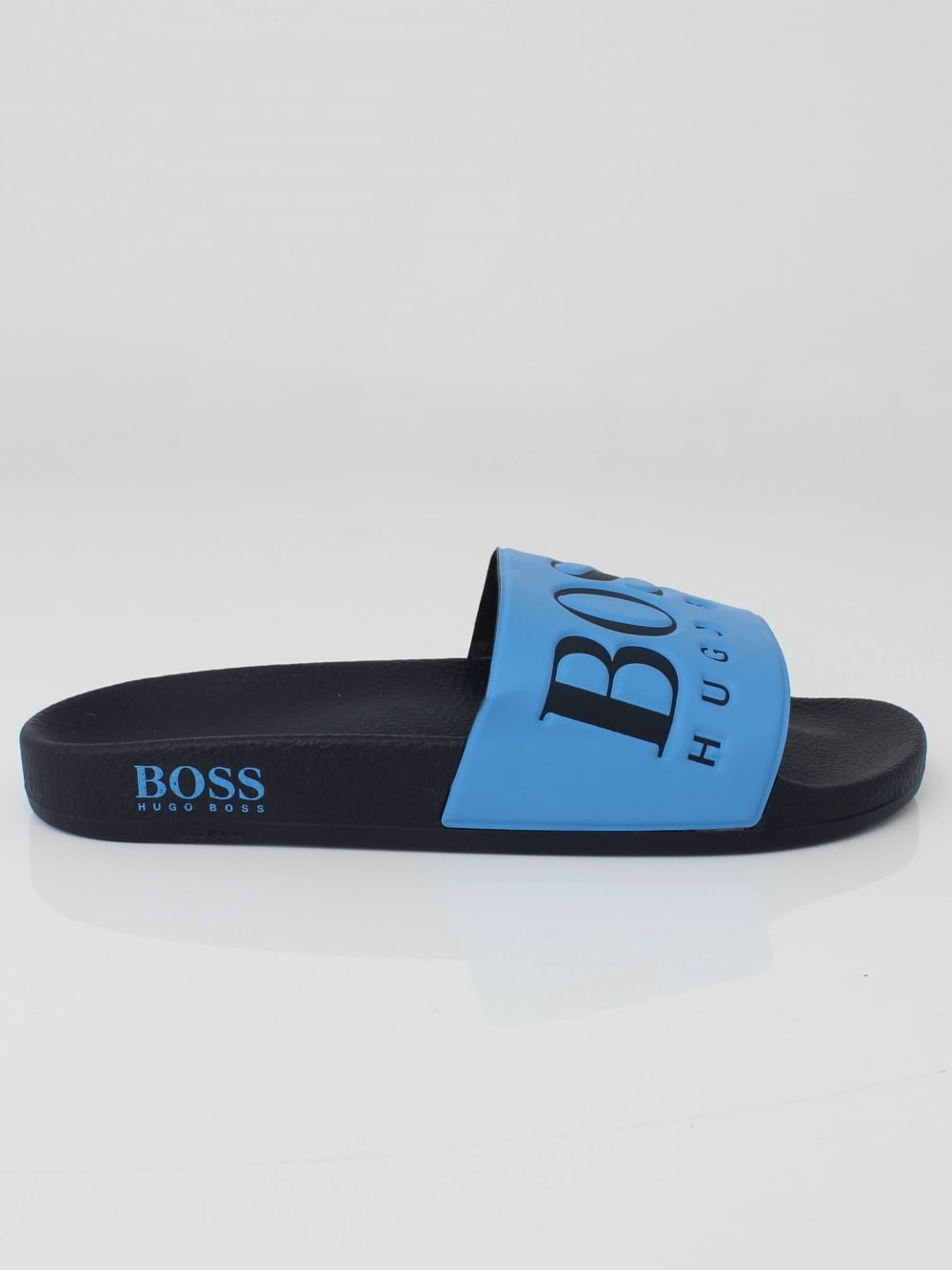 hugo boss solar logo slides in open blue northern threads