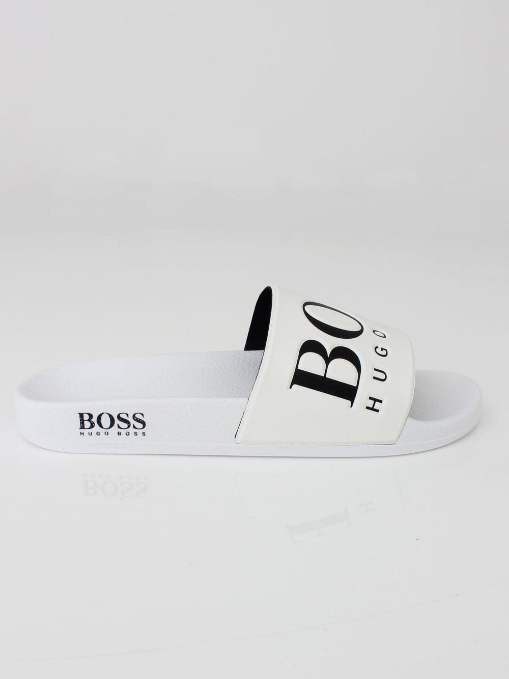 0f681df1c24c Hugo Boss Solar Logo Slides in White