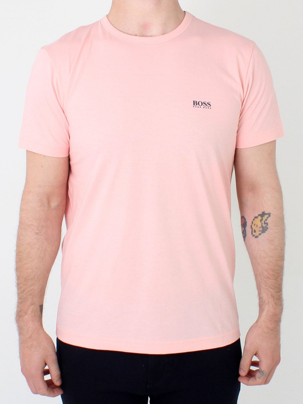 a890fdff Hugo Boss Twin Logo Crew Neck T.shirt in Pastel Pink | Northern Threads