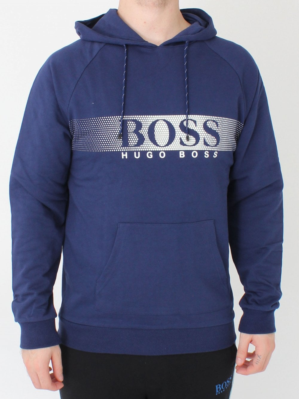 30ab9035716 Hugo Boss Long Sleeve Hooded Shirt in Navy | Northern Threads