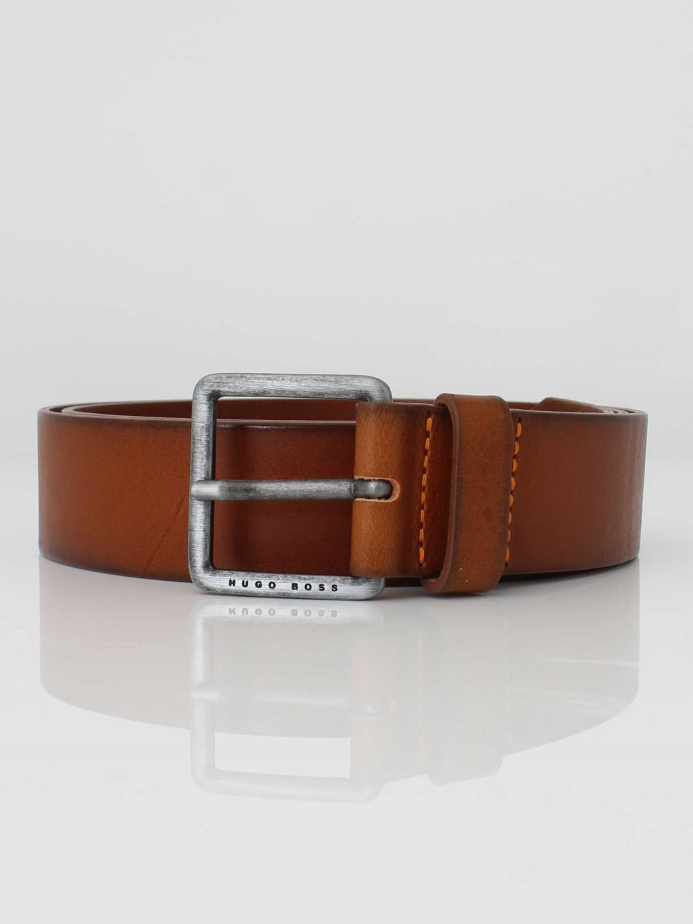 fcf247acccdf Hugo Boss Jeeko Leather Belt in Medium Brown | Northern Threads