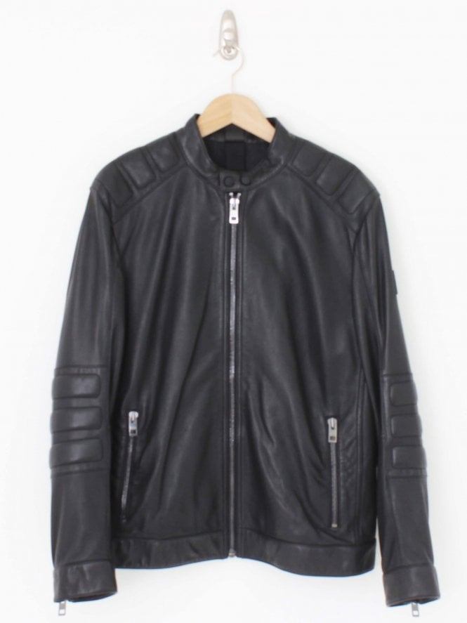 BOSS Casual Jagson Leather Jacket - Black
