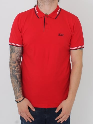 Paul Slim Fit Tipped Polo - Medium Red