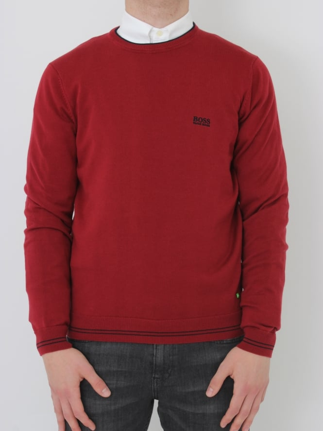 BOSS Green - BOSS Green Rime Crew Neck Knit - Dark Red
