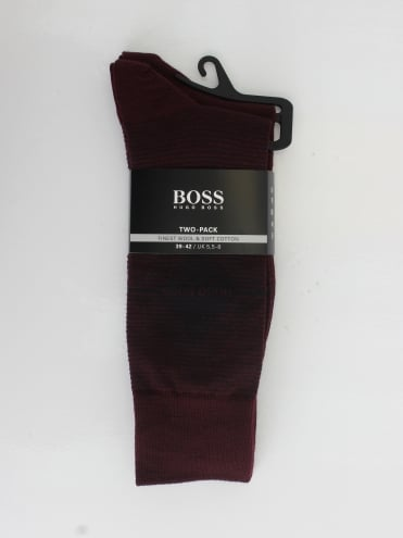 - BOSS Hugo Boss 2 Pack Argyle Socks - Dark Red