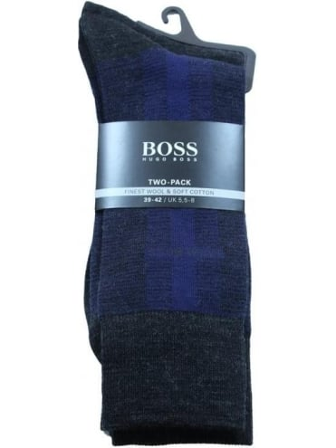 - BOSS Hugo Boss 2 Pack RS Design Socks - Charcoal