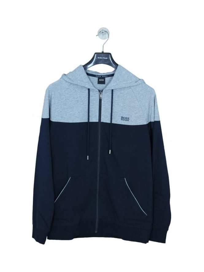 HUGO BOSS - BOSS Hugo Boss Zip Through Lounge Hooded Sweat - Navy/Grey