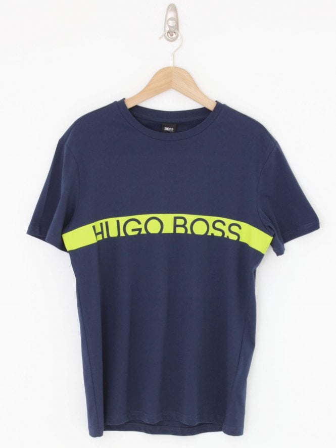 BOSS Swimwear Solid Stripe Logo Tee - Navy
