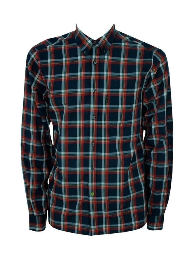 Pretty green pretty green button down check shirt navy for Red and green checked shirt