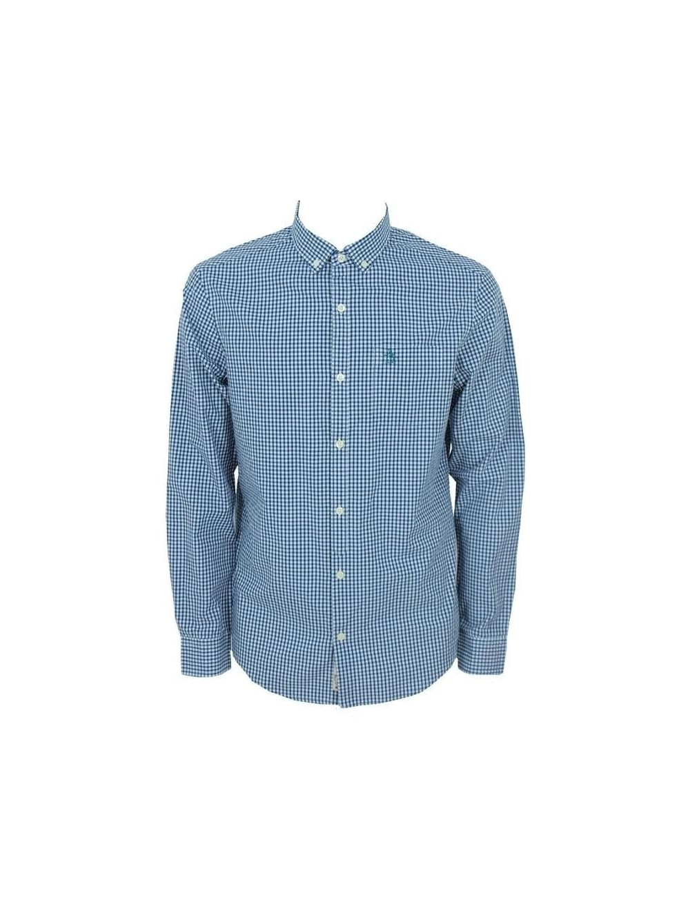Original Penguin Button Down Gingham Shirt In Estate Blue