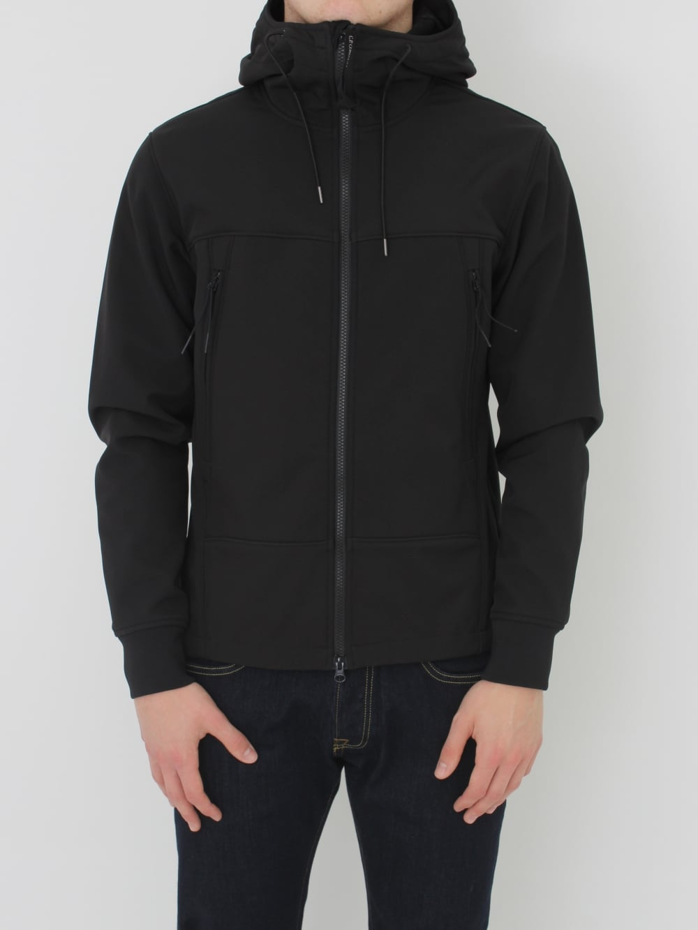 C P Company Softshell Goggle Jacket In Caviar Northern