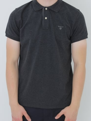 Contrast Collar Pique Polo - Anthracite
