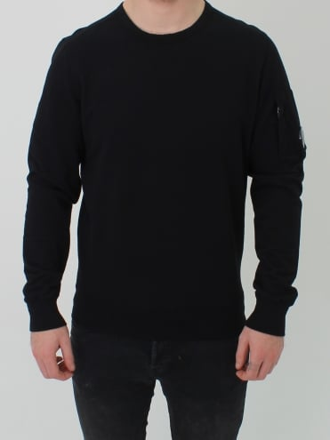 Arm Lens Viewer Crew Sweat - Caviar Black