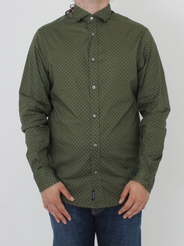 Custom Fit All Over Logo Shirt - Olive