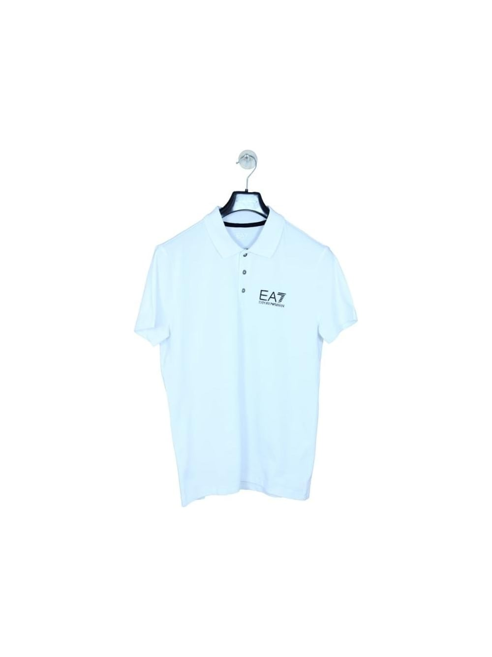 1a1c33548 EA7 Branded Chest Logo Polo Shirt In White - Northern Threads
