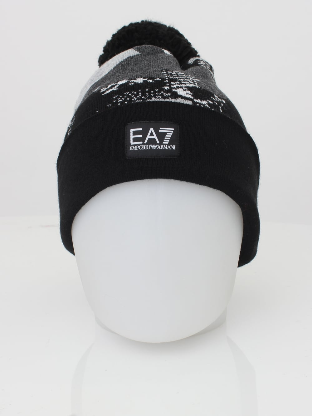 EA7 Pom Pom Beanie Hat in Black - Northern Threads fca6c5674fb