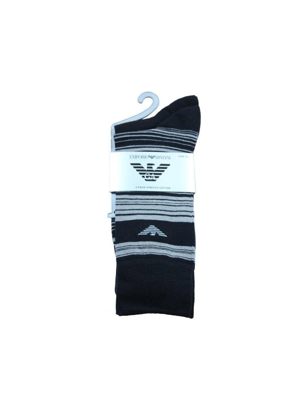 7546cb241dc Emporio Armani Horizontal Stripe 2 Pack Socks in Black - Northern ...
