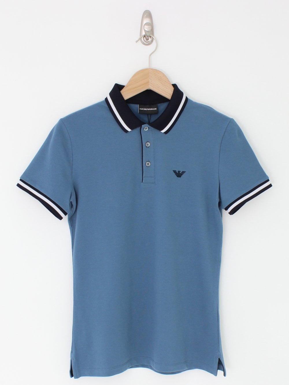 comprar popular 2a85b 52d6a Contrast Collar Logo Polo - Medium Blue