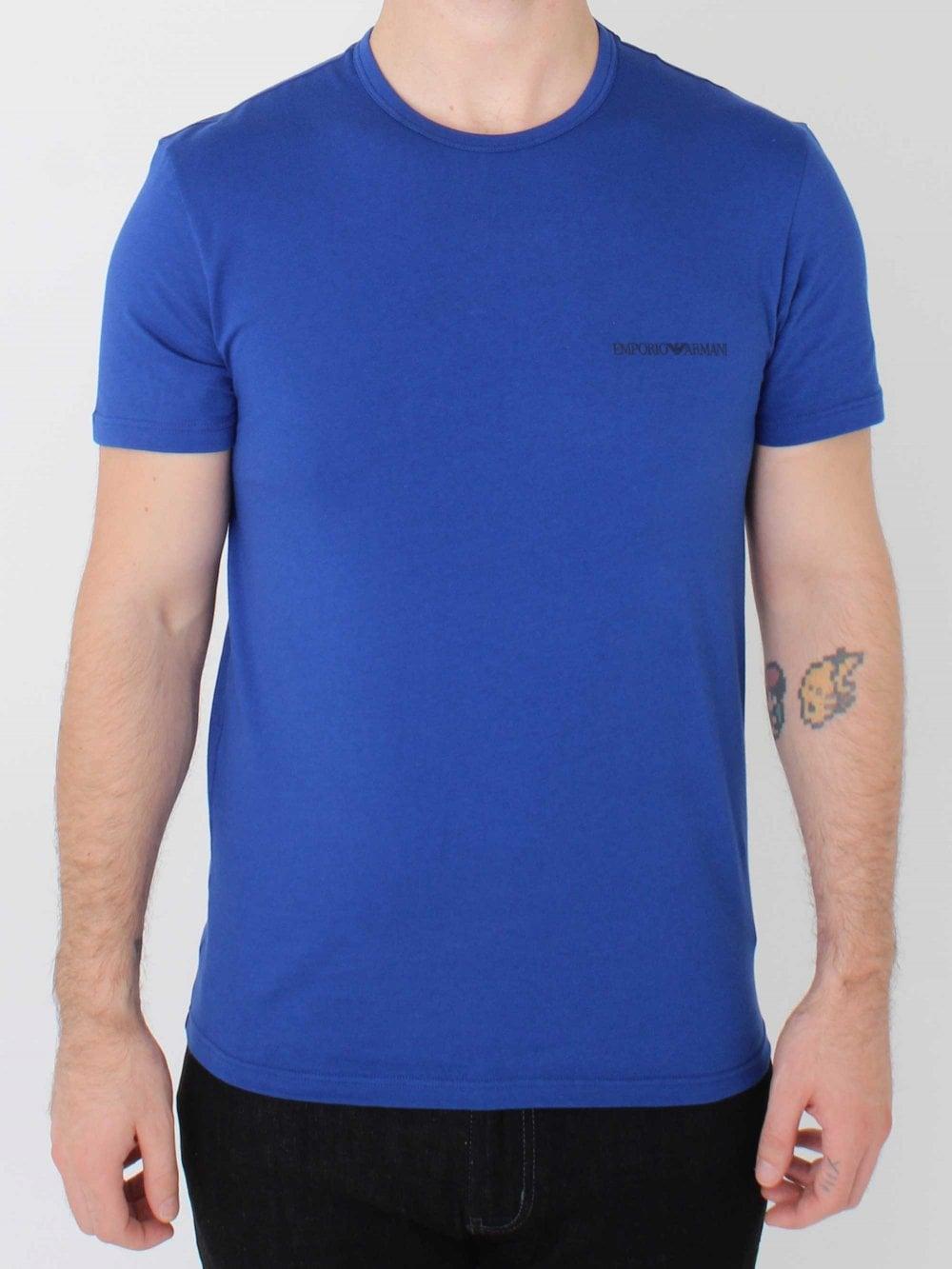 e4738d4bbd Crew Neck Logo Stretch T.Shirt - Blue/Black