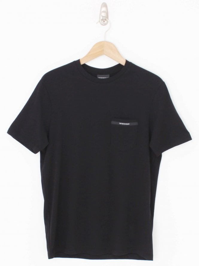 Emporio Armani Pocket Logo Crew Neck T Shirt - Black