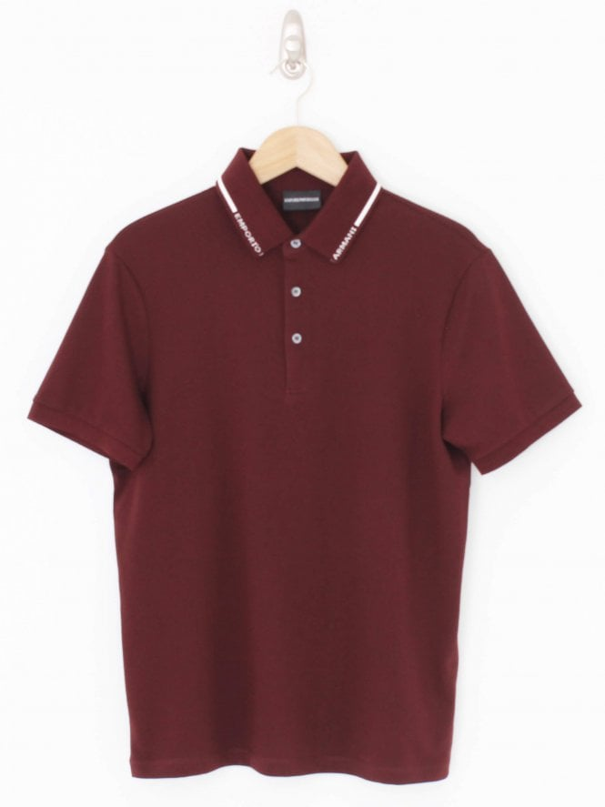 Emporio Armani Tipped Collar Logo Polo - Bordeaux