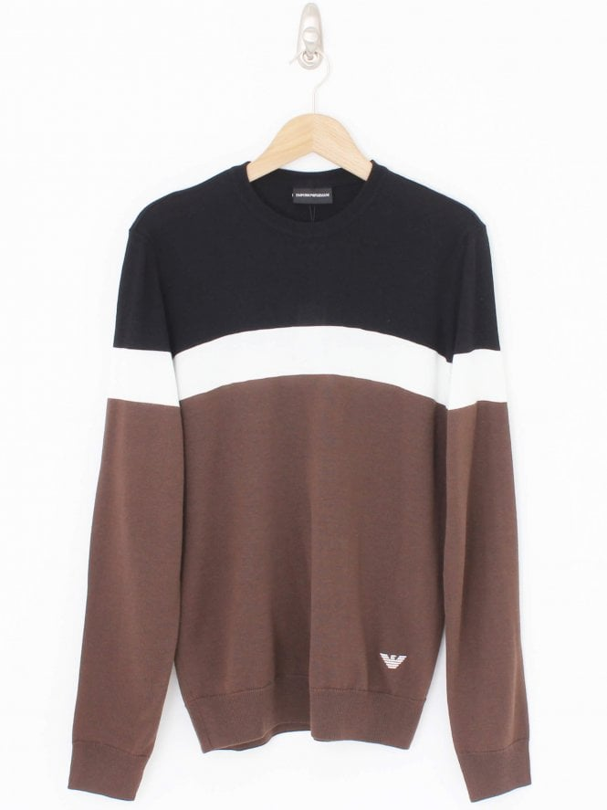 Emporio Armani Triple Stripe Crew Neck Knit - Chocolate