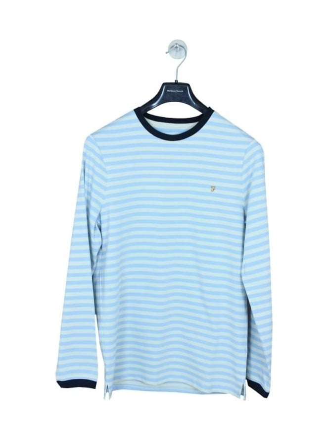 Farah Ally Stripe L/S T- Shirt - Pale Blue