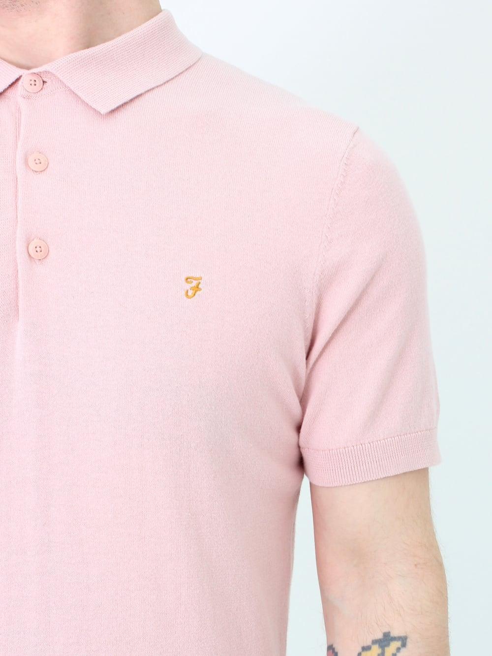 da01c5b5 Farah Ben S/S Knitted Polo in Rose | Northern Threads
