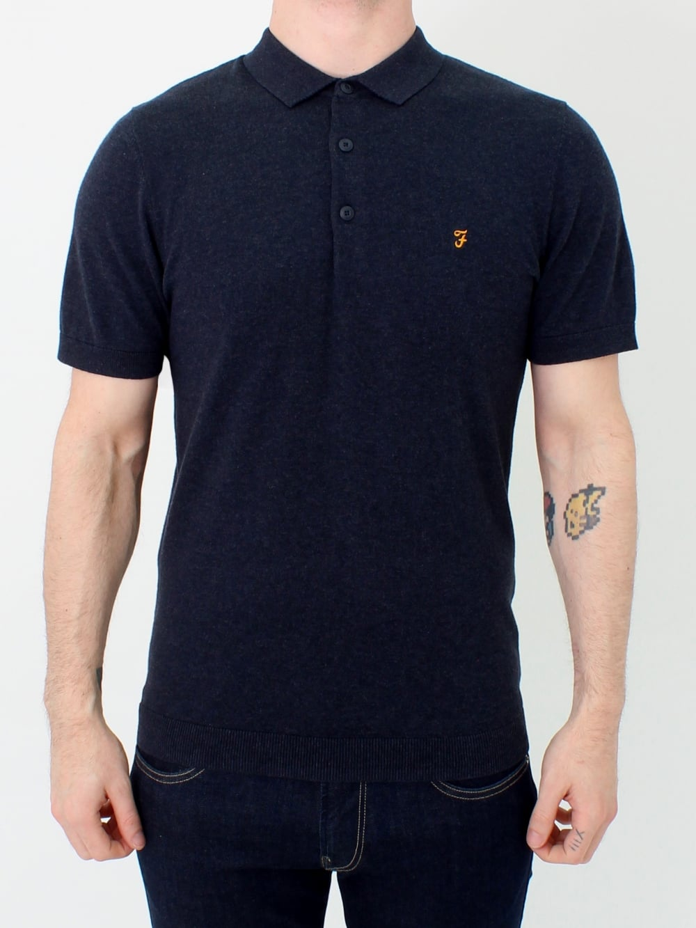 0c509d9e9 Farah Ben S/S Knitted Polo in True Navy   Northern Threads