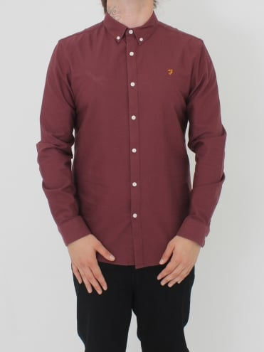 Brewer Slim Long Sleeve Shirt - Red