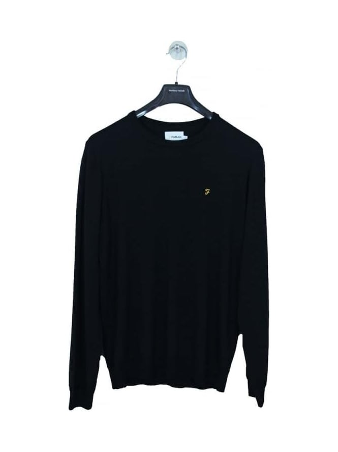 Farah Mullen Crew Neck Knit - Black