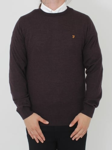 Mullen Wool Crew Neck Knit - Bordeaux
