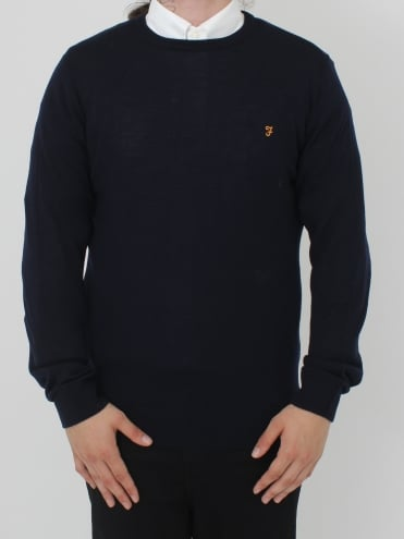 Mullen Wool Crew Neck Knit - Navy