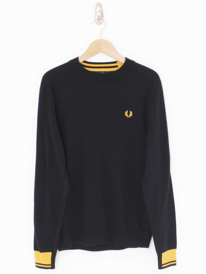 Fred Perry Abstract Tipped Crew Neck Knit - Black