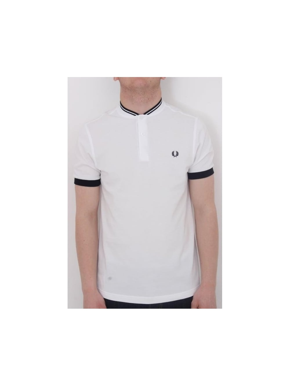 612145ab Fred Perry Bomber Collar Pique Polo In White - Northern Threads