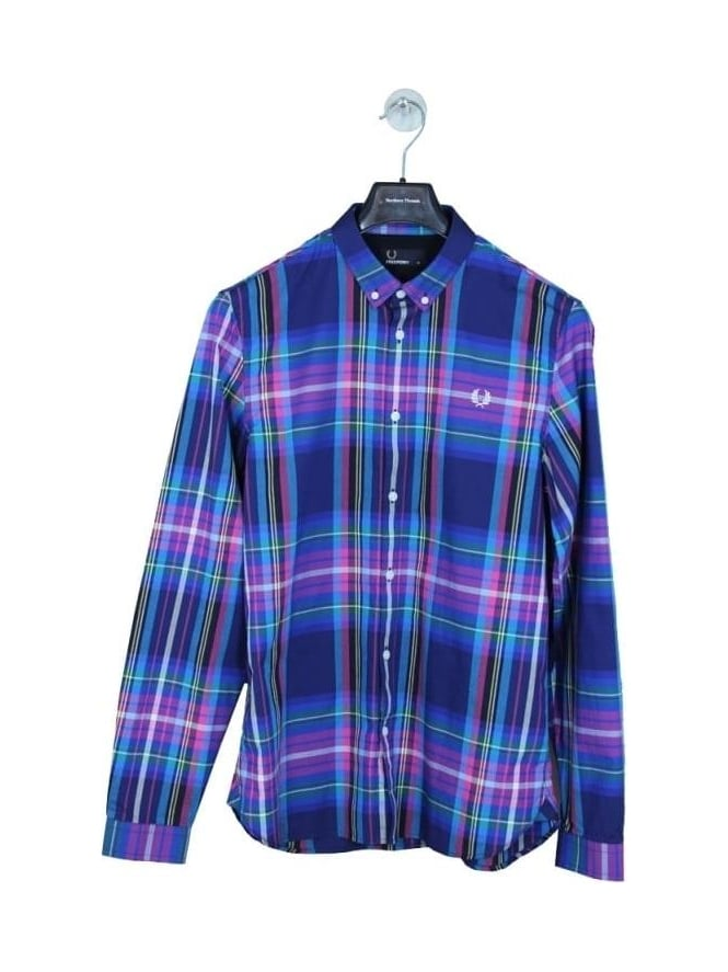 Fred Perry Bright Tartan Shirt - French Navy